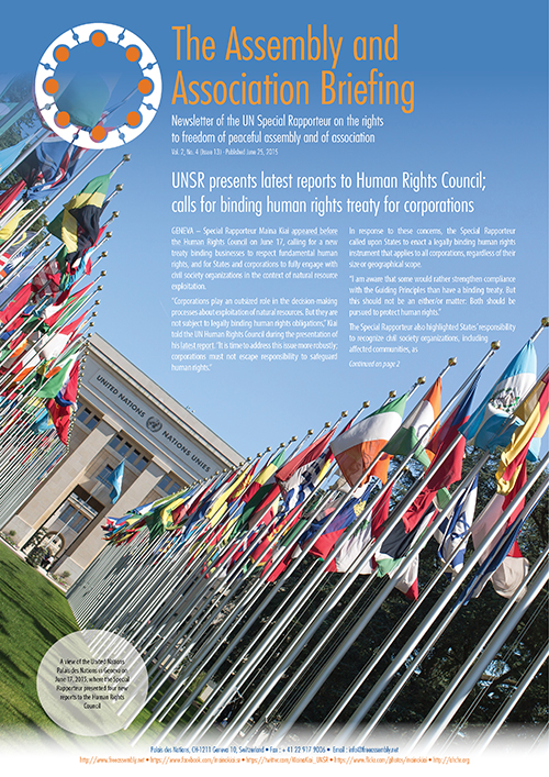 UNSR Maina Kiai newsletter - Vol. 2, No. 4 (cover)_500