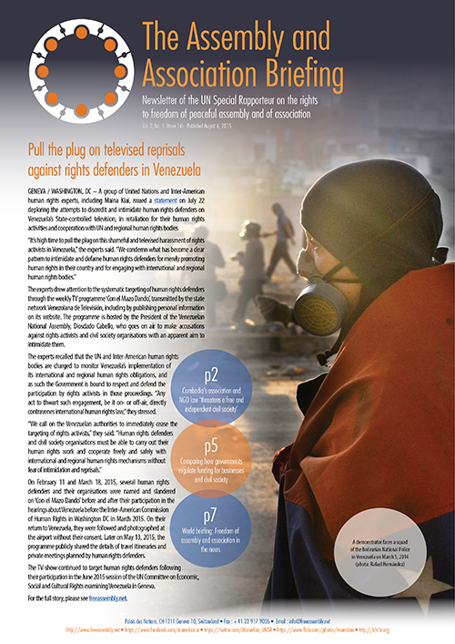 UNSR Maina Kiai newsletter - Vol. 2, No. 5 (cover)_500