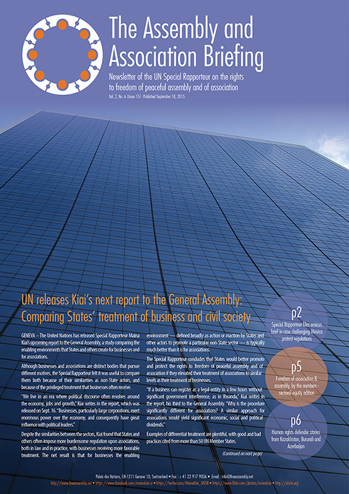 UNSR Maina Kiai newsletter - Vol. 2, No. 6 (cover)_500